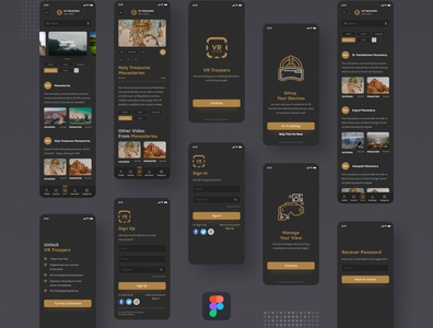 VR Travel App mobile ui vr 360 degree 360 view vlog video travel vector figma app agency modern design minimal ui