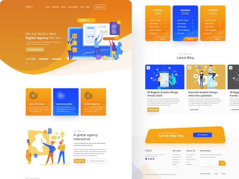 Agency Landing Page home page figma landing page website agency clean modern design minimal ui