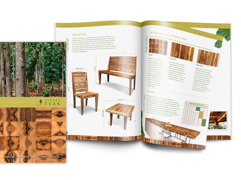 Tobara Teak Catalog Brochure cutting board trees magazine furniture wood teak product brochure catalog print