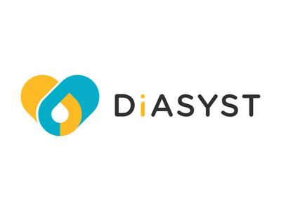 DIASYST Brand diabetes management health it heart logo brand blood drop pills