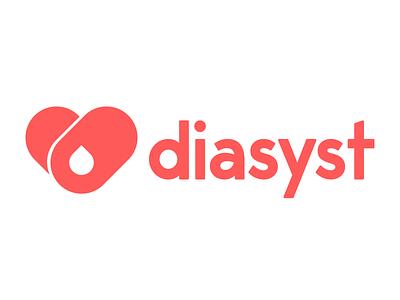 Diasyst Logo drop blood diabetes healthcare t2d t1d heart bills medical health it