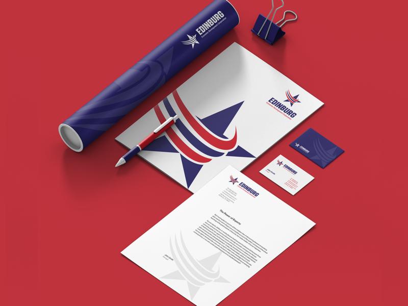 edinburg university blue red star illustration print typography logotype graphic identity logodesign design branding