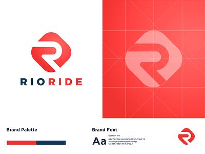 rioride ride blue red road rio taxi transport typography graphic vector logotype logodesign logo a day logo branding identity design
