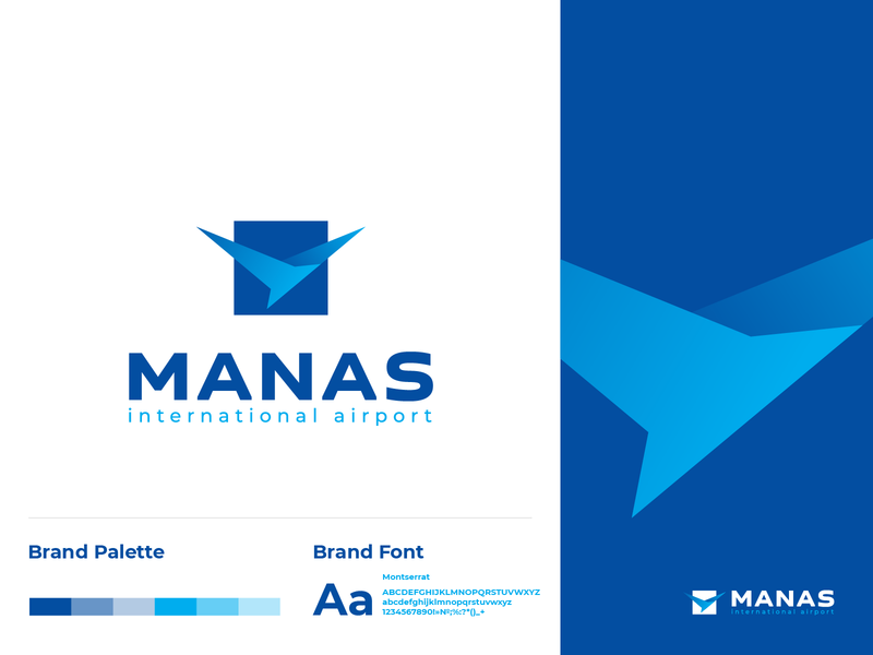 logo Manas eagle sky fly international airport air bird brand blue icon logo a day graphic logotype logo logodesign identity design branding