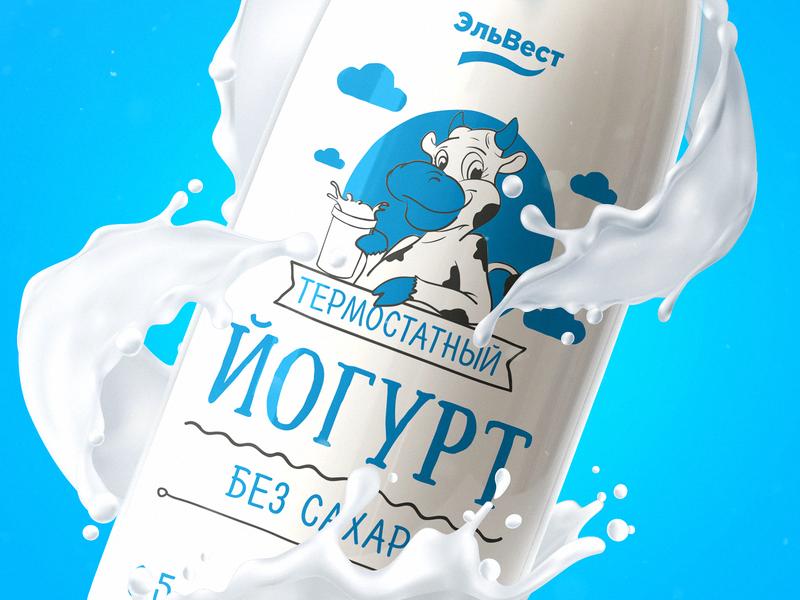 bottle01 labels draw bottle blue cow milk package design packaging pack graphic typography print illustration design branding