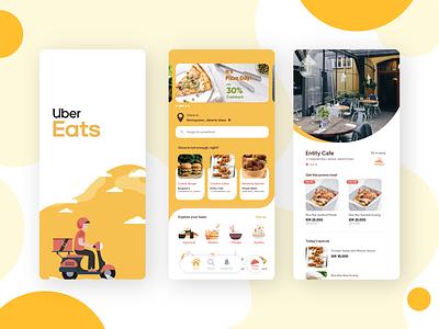 Uber Eats App Redesign ui  ux minimal branding adobe illustrator uber app