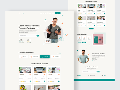 E learning - Online Education Landing Page homepage web interface ui learning platform education website courses online education web design landing tutor learning website template e learning website e learning learning web design learning website