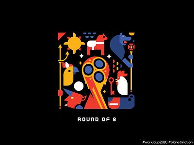 Round of 8 russia belgium england sweden croatia brazil uruguay france illustration worldcup football