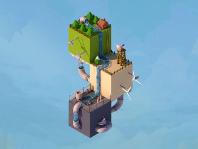Evolution - First Shot!  low poly squares simple isometric