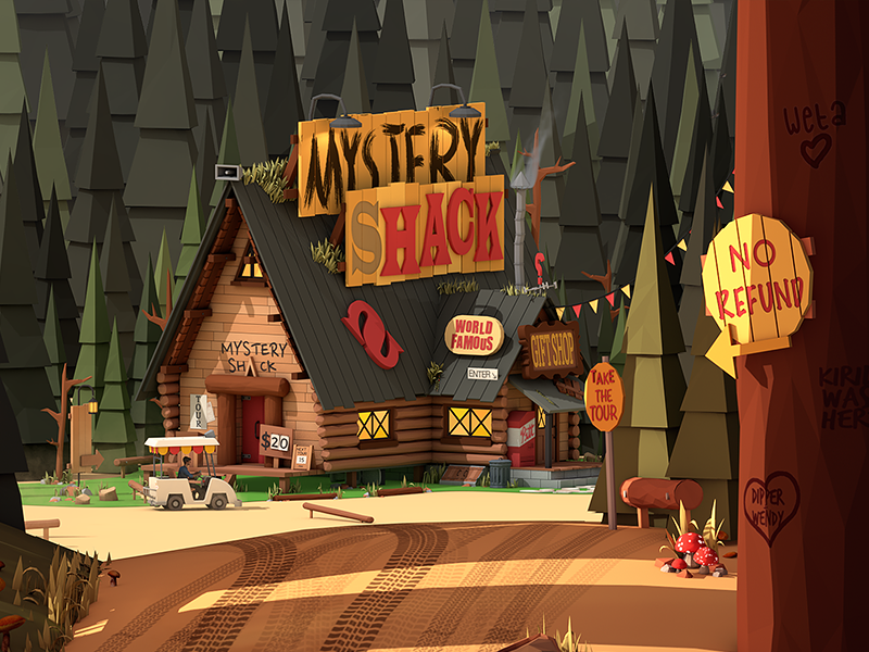 Gravity Falls landscape cabin 3d cinema 4d mystery shack architecture city building isometric low poly