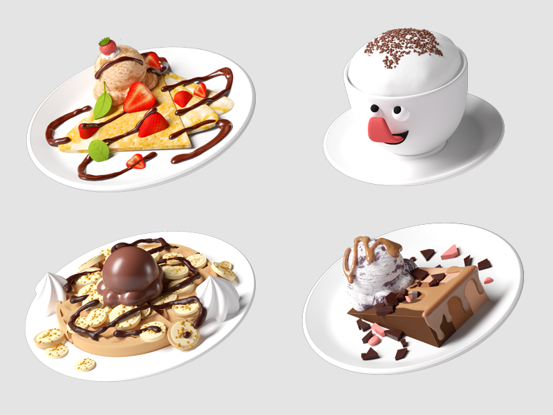 Desert Icons (with chocolate drizzle!) brand characters ice cream cake waffle isometric game art low poly octane c4d 3d cinema4d illustration illustrator app icons 3d icons icon design