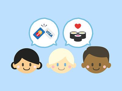 Food Site Illustration food people payment avatar