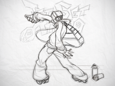 Sketching in PS photoshop sketch line skater