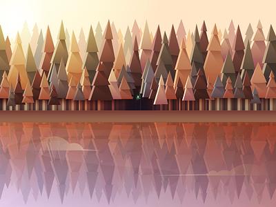 Spirit Forest sunlight illustration vector lake lightning adobe illustrator sylvan spirit fog gradient flat forest