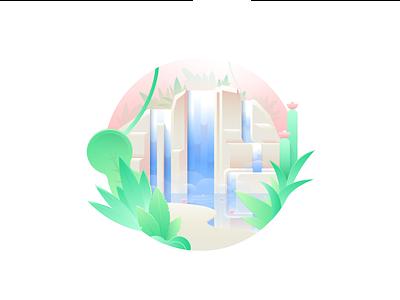 Oasis water lily plants oasis djungle lake cascade waterfall vector adobe illustrator