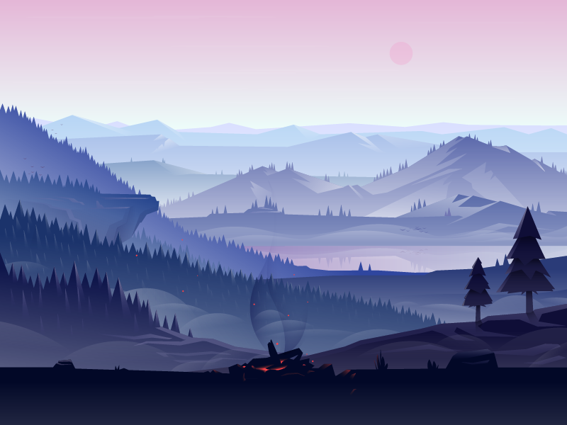Mountain Scenery landscape lookout campfire vector illustrator forest mountain