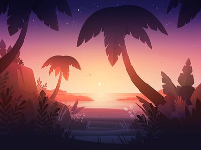 Beach stars sand sea plants palm sun sunset beach