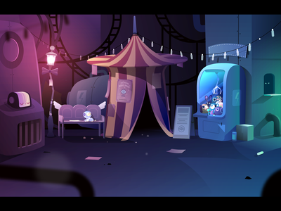 Amusement Park - Backyard gradient light epiphany dystopia robot lantern game magic tent amusement park vector