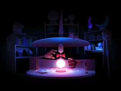 The fantastic robotic Magician dystopia magic magician robot gradient light illustration vector