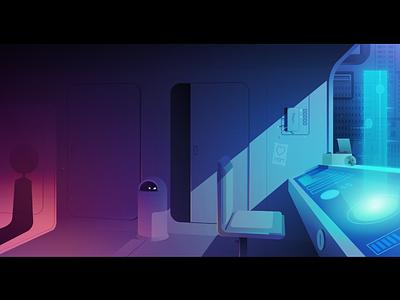Transporter transport hologramm light game gradient illustrator illustration vector