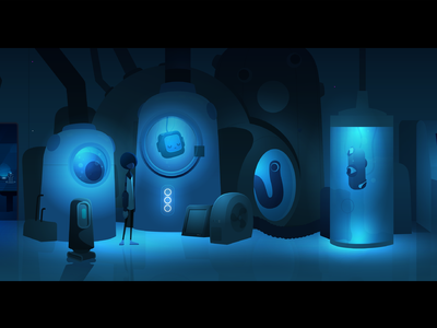 The Laboratory character experiments laboratory game robot light illustration vector