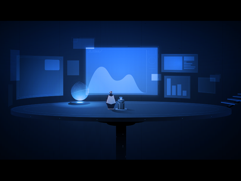 Control Center future display hologram light game adobe illustrator illustration vector