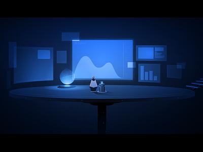 Control Center future display hologram light game adobe illustrator illustration vector