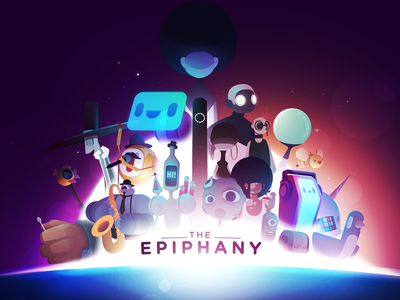 The Epiphany black game robot epiphany coverart cover illustration vector