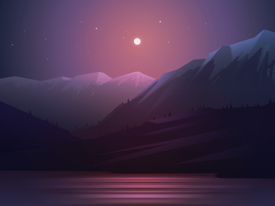 Moonlight lake night mountain landscape moonlight light vector illustration