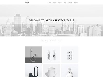 Neon shop portfolio personal minimal design creative clean business blog art agency