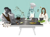 Promo illustration for culinary collaboration