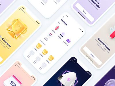 Achievements 🏆 modal list trophy achievement badge mobile app mobile ui