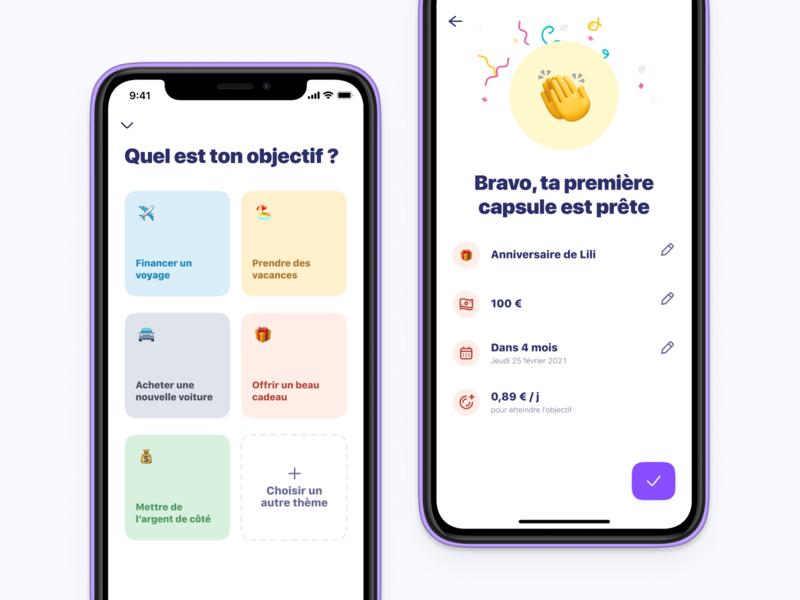 First Capsule Creation 🛸 savings app goal money app vault onboarding financial app