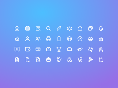 Outliny: A simple, minimal icon set 2px stroke stroke 2px pack set icons outliny