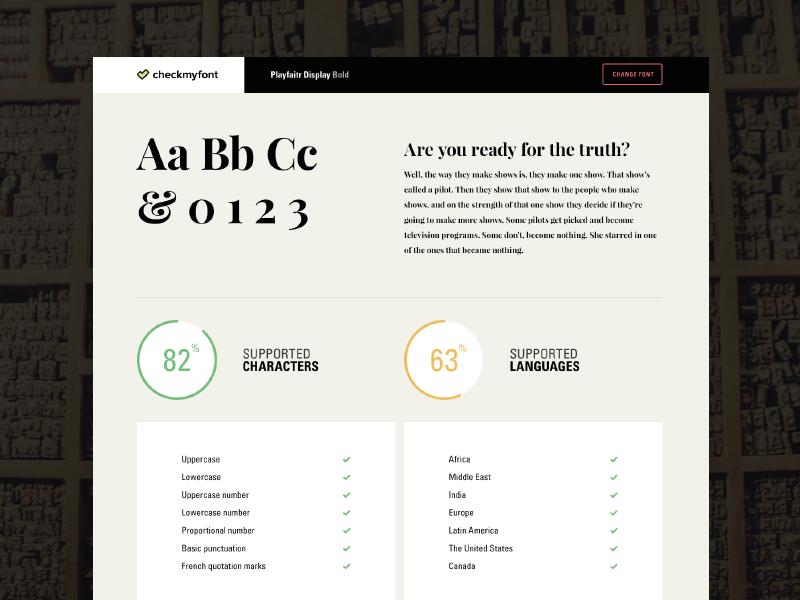 Checkmyfont Website webdesign website language support type font