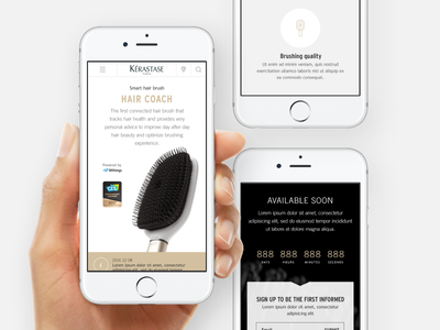 Hair Coach Landing Page - Mobile real project web hairbrush smart withings mobile coach hair connected brush kérastase