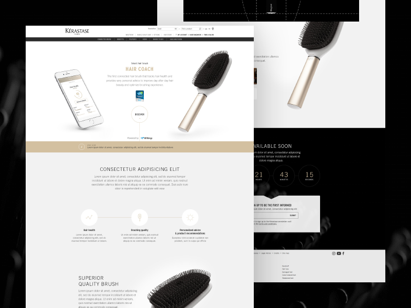 Hair Coach Landing Page - Desktop real project withings web coach hair connected brush kérastase