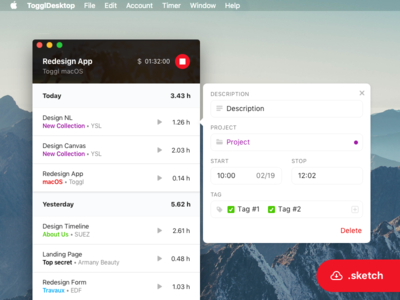 Redesign Toggl  💻  WIP 02 tracking track timer desktop redesign mac toggl free download sketch