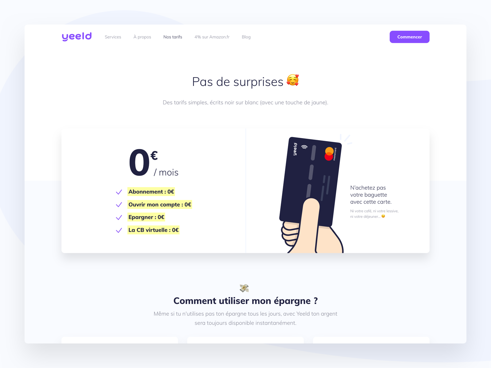 Yeeld Pricing Page - Desktop