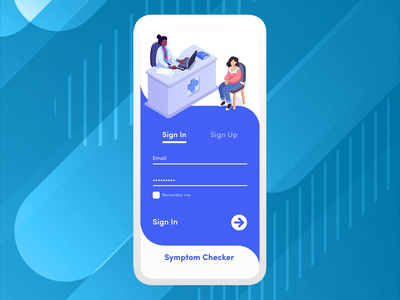 Medical Application blue mobile design interactions symptoms doctor medical