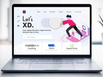 Let's XD Redesign (Complete) lets xd anchor links illustrations ui design web adobe xd redesign website