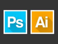 Adobe Icons (Long Shadow)