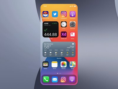 iOS Stackable Widgets iphone auto-animate adobe xd stacks widgets ios widgets