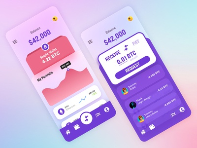 Finance / Cryptocurrency Wallet Application adobe xd mobile design bitcoin transactions wallet crypto wallet cryptocurrency crypto