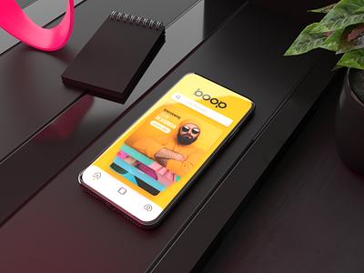 3D Phone Display – Boopcast adobe xd adobe dimension albums podcast ui design matte black 3d 3d iphone
