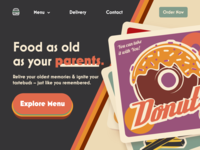 Retro Landing Page hamburger menu adobe xd donut buttons hamburger menu food landing page retro