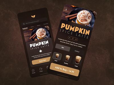 Coffee? Coffee. adobe xd menu food ordering ordering coffee app latte pumpkin spice mobile app coffee