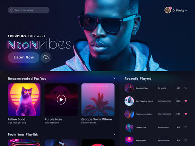 Neon Vibes Music Exploration adobe xd music application buttons search bar playlist neon music app music