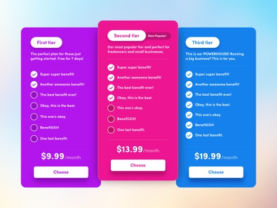 Colorful Pricing Tables benefits buttons tiers colorful price table pricing page pricing tables pricing