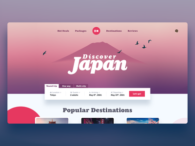 Travel Landing Pages adobe xd website design destinations japan traveling travel page web design website landing page travel